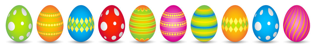 10 colourful easter eggs Royalty Free Stock Photo