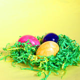 Colourful Easter Eggs on straw Royalty Free Stock Photography