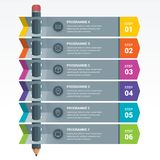 Colourful Education Elements Infographics Pencil. Colourful Education Infographics. Education pencil Infographics step option. Vector illustration. can be used Royalty Free Stock Photo