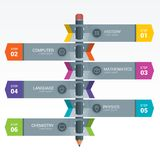 Colourful Education Elements Infographics Pencil. Colourful Education Infographics. Education pencil Infographics step option. Vector illustration. can be used Royalty Free Stock Photography