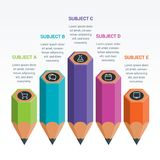 Colourful Education Elements Infographics Pencil. Colourful Education Infographics. Education pencil Infographics step option. Vector illustration. can be used Royalty Free Stock Photos