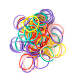 Colourful elastic bands isolate on white background. Multicolored rubber or elastic bands stock photo