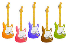 Colourful Electric Guitars Stock Image