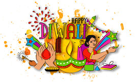 Colourful Elements for Diwali Celebration. Colourful Text Diwali with Sweets, Firecrackers, Indian Woman and Other Elements, Creative Vector Illustration for Stock Photography