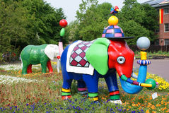 Colourful elephant statues Royalty Free Stock Image