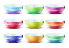 Colourful empty bowls isolated. Porcelain kitchen food plates vector set. Plate porcelain tableware, colored dishware bowl collection illustration Royalty Free Stock Images