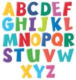 Colourful english alphabet on white background. Illustration royalty free illustration