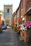 Colourful English floral village of Croston Stock Photo