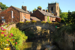 Colourful English floral village of Croston on the river Yarrow Royalty Free Stock Photo