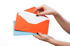 Colourful envelopes and white letter Stock Photography