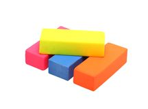 Colourful erasers isolated on white Stock Image