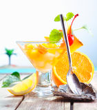 Colourful exotic fruit cocktail Royalty Free Stock Photography