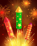 Colourful Exploding Rockets on Bright Background Royalty Free Stock Photos