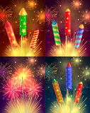 Colourful Exploding Rockets on Bright Background Stock Photos
