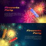 Colourful Exploding Rockets on Bright Background Stock Photography