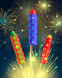 Colourful Exploding Rockets on Bright Background Stock Photo