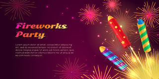 Colourful Exploding Rockets on Bright Background Royalty Free Stock Photo