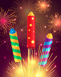 Colourful Exploding Rockets on Bright Background Stock Images