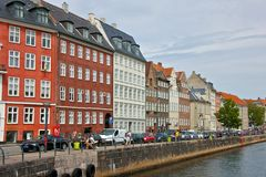 Colourful Façades along Nyhavn, Copenhagen Royalty Free Stock Photos