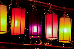 Colourful fabric lanterns Royalty Free Stock Image