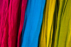 Colourful fabric textile cloth scarves Stock Photo