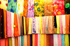 Colourful Fabrics. For Sale In A Textile Shop Royalty Free Stock Photos