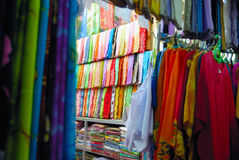 Colourful Fabrics. For Sale In A Textile Shop Stock Photo