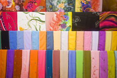 Colourful Fabrics For Sale. In A Textile Shop Stock Photos