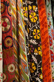 Colourful fabrics from the silk and the cotton Stock Photos