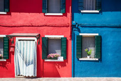 Colourful facade on Burano island, province of Venice Stock Photography