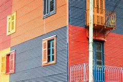 Colourful facade of a house at La Boca Stock Images