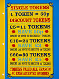 Colourful Fairground price list. Pleasure park royalty free stock photo