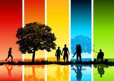 Colourful Family Scene Stock Images