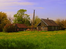 Colourful farmstead in Lithuania country royalty free stock photography