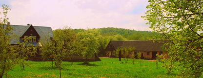 Colourful farmstead in Lithuania country Royalty Free Stock Photo