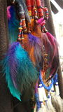 Colourful feather on necklace Royalty Free Stock Photo