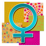 Colourful Female Symbol. Female symbol in various colourful multicolored background stock illustration