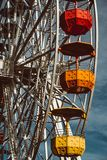 Colourful ferris wheel in the amusement park Tibidabo on background of blue sky stock photo