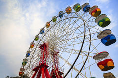 Colourful ferris wheel carriages Royalty Free Stock Image