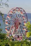 A colourful ferris wheel in the city amusement park at sunny summer day over blue sky background. Front view through green trees. stock photos