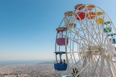 Free Colourful Ferris Wheel In The Amusement Park Tibidabo On Background Of Blue Sky, Barcelona, ​​Spain Stock Photo - 143032680