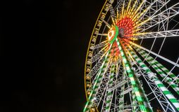 Colourful ferris wheel at night Royalty Free Stock Photography