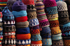 Colourful fez. Market stall in the Marrakech souk Stock Images