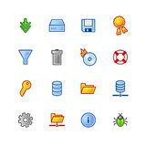 Colourful file server icons. Colourful file server vector icons on the white background Royalty Free Stock Image
