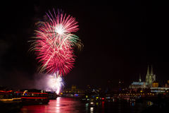 Colourful firework in front of the cathedral of Cologne Stock Photography
