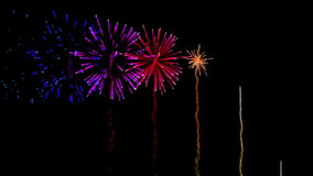 Colourful fireworks exploding on black background stock video footage