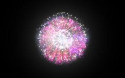 Colourful fireworks exploding on black background Stock Photos