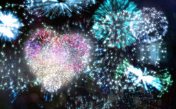 Colourful fireworks exploding on black background Royalty Free Stock Photo
