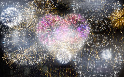 Colourful fireworks exploding on black background Royalty Free Stock Image