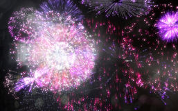 Colourful fireworks exploding on black background Stock Photography